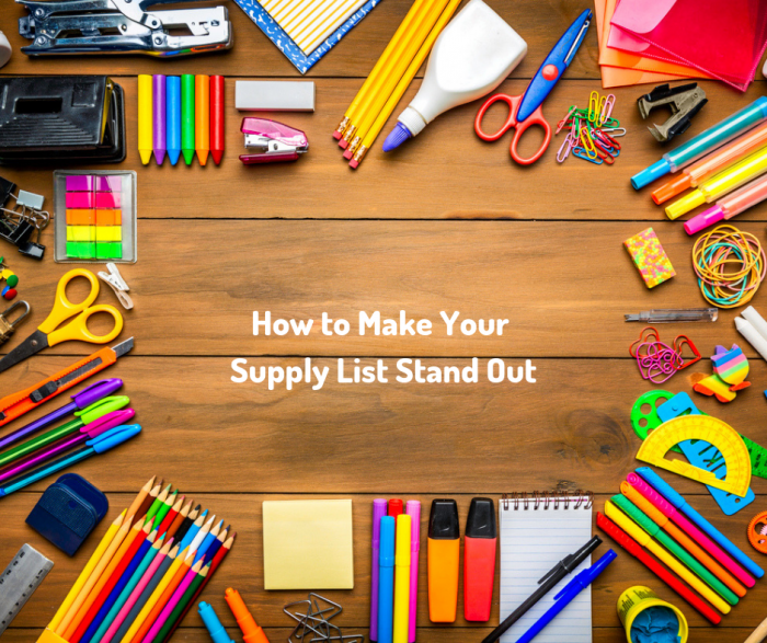 Copy Of Make Your Supply List Stand Out